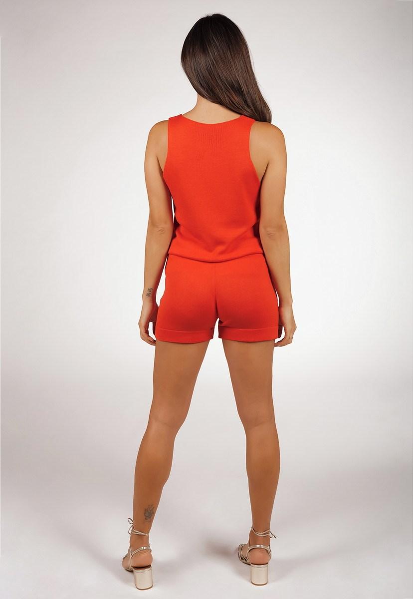 Conjunto Pink Tricot Moletinho De Tricô Modal Com Blusa Regata E Short Liso Feminino Coral