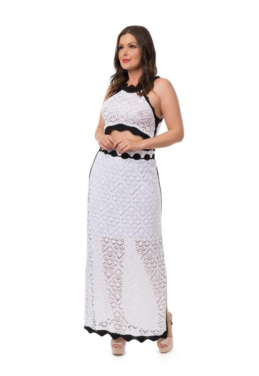 Conjunto Pink Tricot Para Gestantes Saia Longa Fenda Cropped Bicolor Feminino Branco
