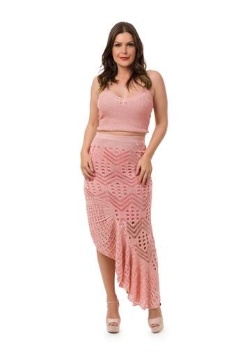 Produto Conjunto Pink Tricot Saia Longa Espanhola Cropped Alças Feminino