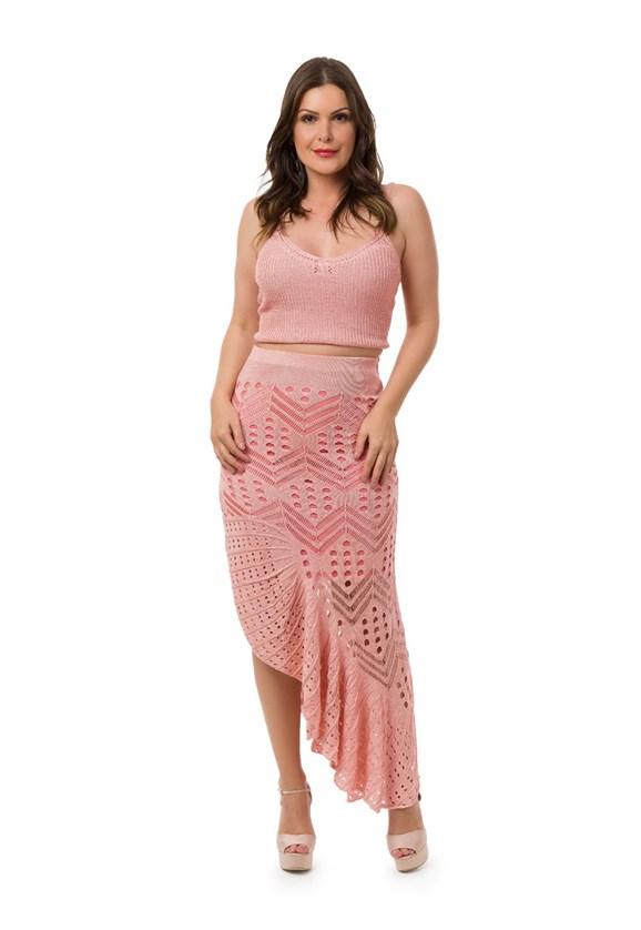 Conjunto Pink Tricot Saia Longa Espanhola Cropped Alças Feminino