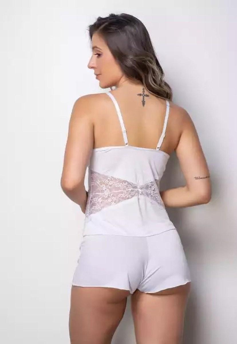 Conjunto Pink Tricot Short-Doll Liganete e Renda Sem Bojo Branco