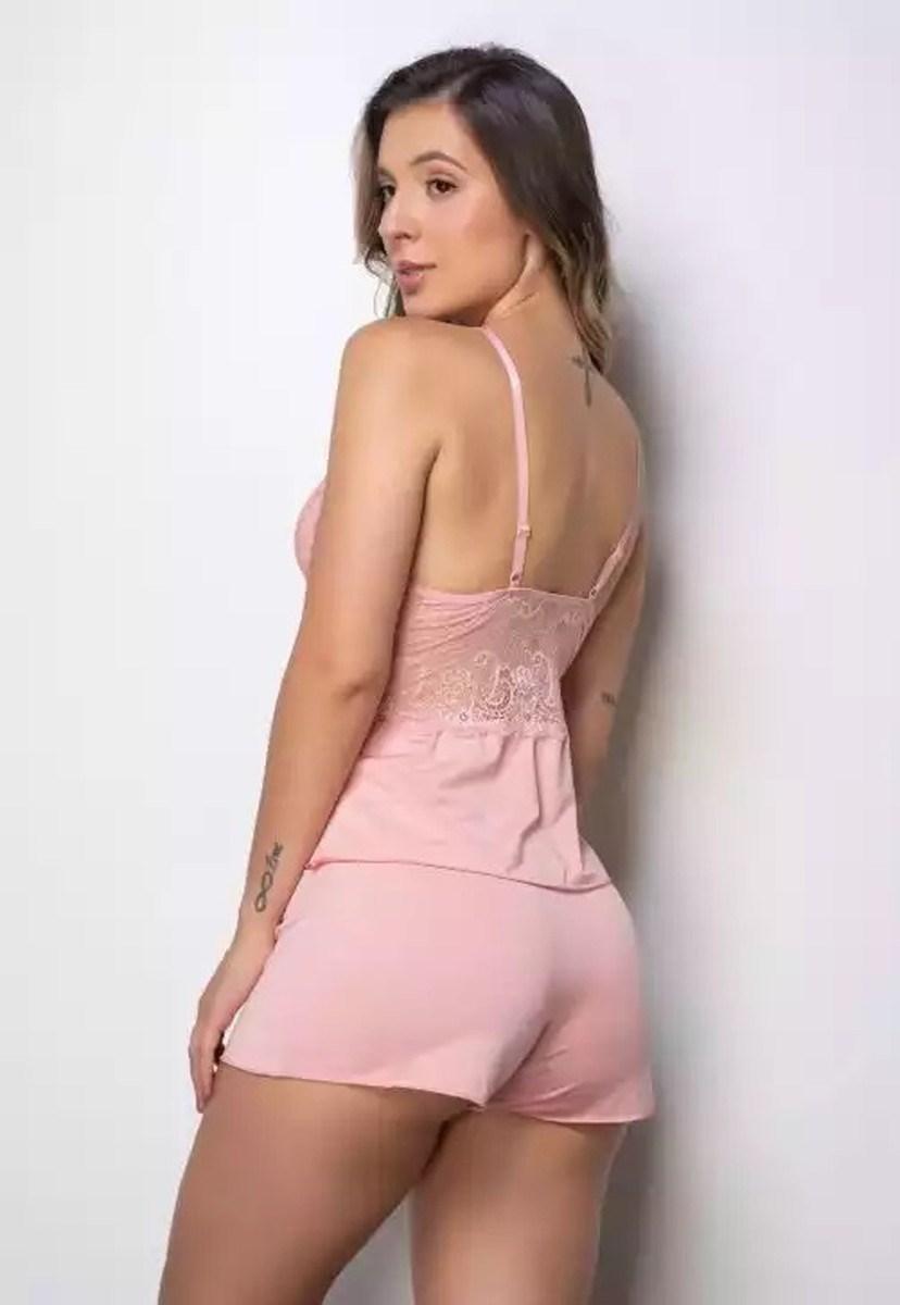Conjunto Pink Tricot Short-Doll Rendado Com Alças Reguláveis Feminino Rosa Claro