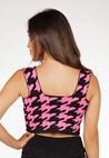 Cropped Pink Tricot De Tricô Modal Reto Com Estampa Pied Poule Feminino Pink