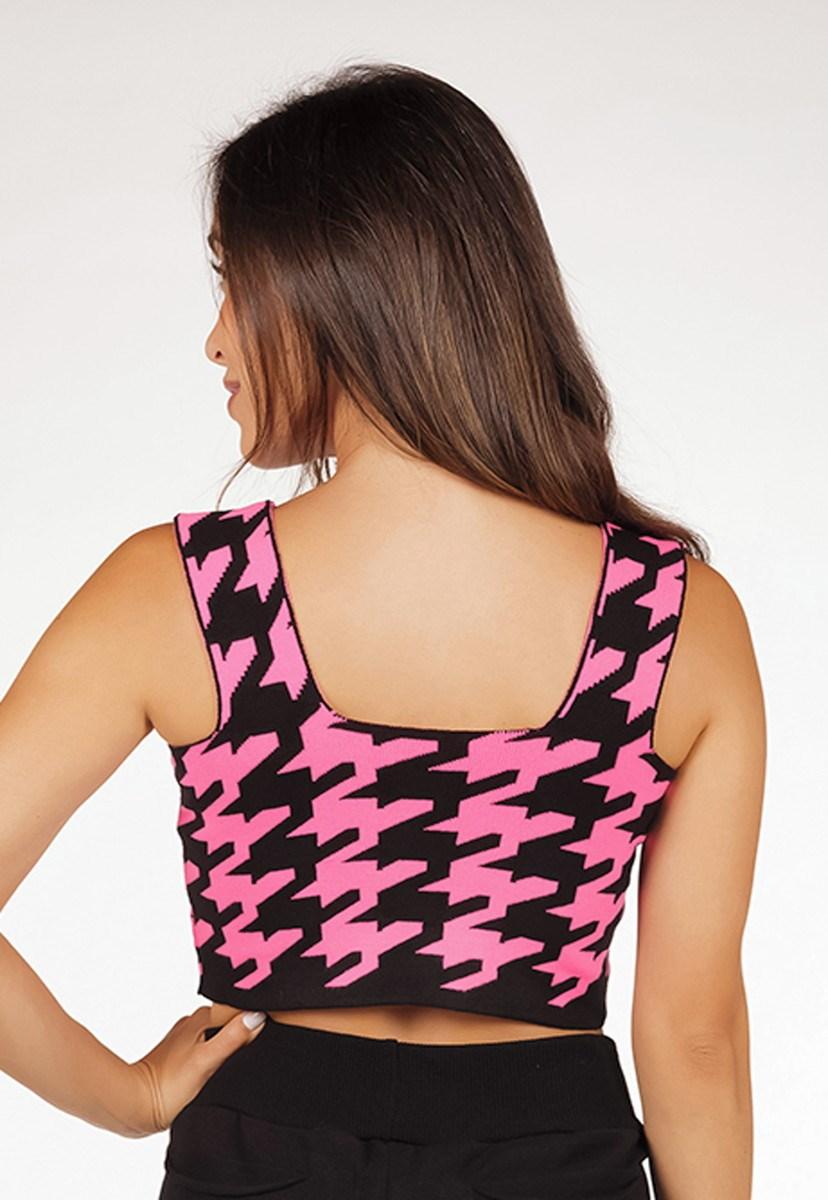 Cropped Regata Pink Tricot De Tricô Modal Top Reto Com Estampa Pied Poule Feminino Pink