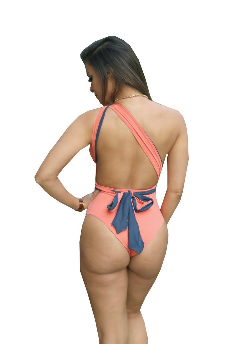 Maiô Body Pink Tricot Decote Frente e Costas Com Amarração Dupla Face Feminino Azul/Laranja