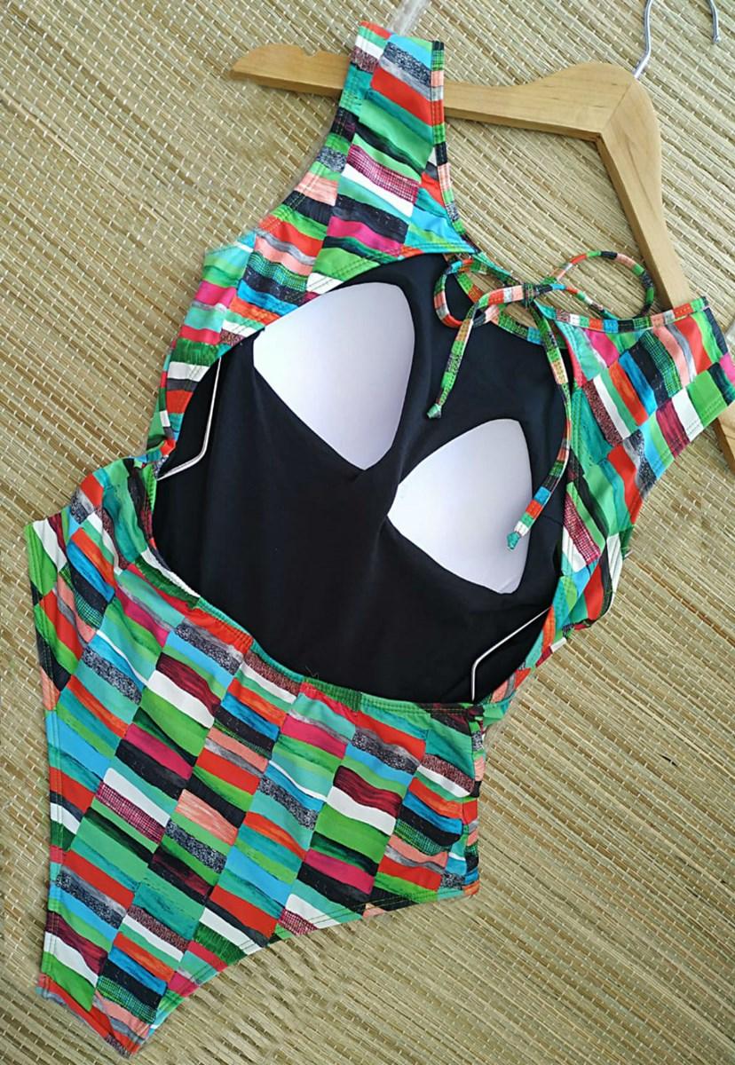 Maiô Estampado com Decote nas Costas Feminino Verde