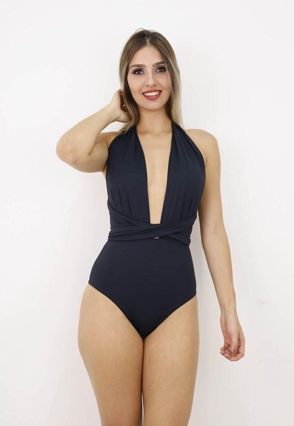 Maiô Pink Tricot Body Decote Frente e Costas Com Amarração Feminino Preto