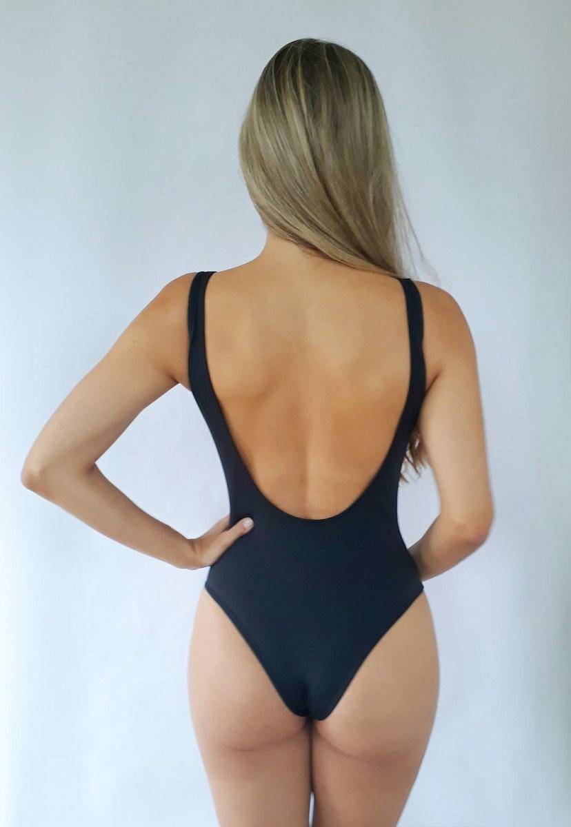 Maiô Pink Tricot Body Swimsuit Frente Única Feminino Preto