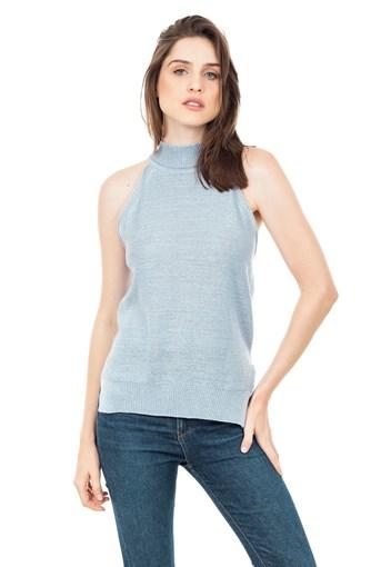 Produto Regata de Tricot Feminina com Fio Metalizado Lurex Azul Claro