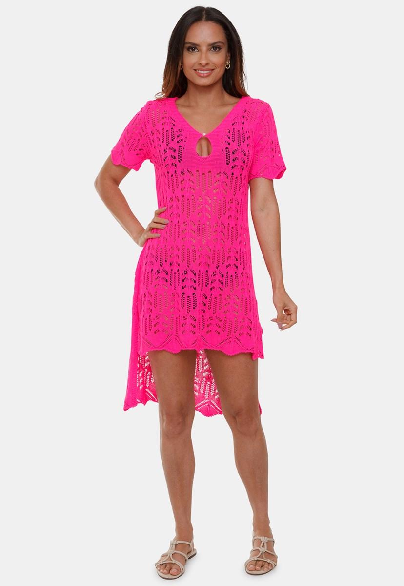 Saída de Praia Pink Tricot Cecilia Vestido Mullet de Tricô Com Manga Curta Rendada Feminino Rosa