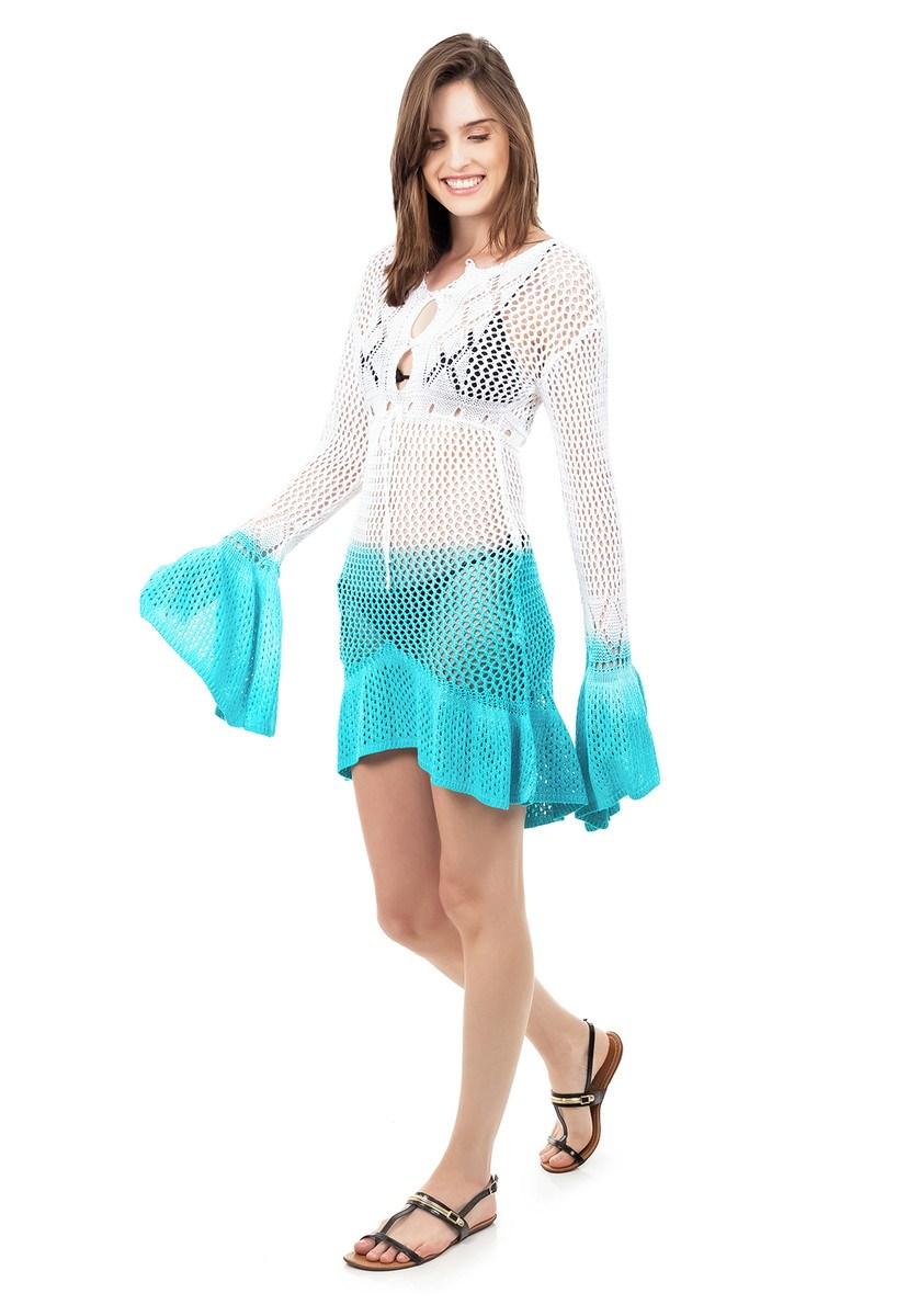 Saida de Praia Tricot Manga Flare Estampa Tie Dye Feminina Branco/Azul