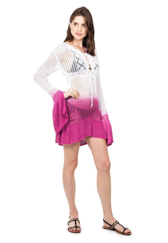 Saida de Praia Tricot Manga Flare Estampa Tie Dye Feminina Branco/Rosa