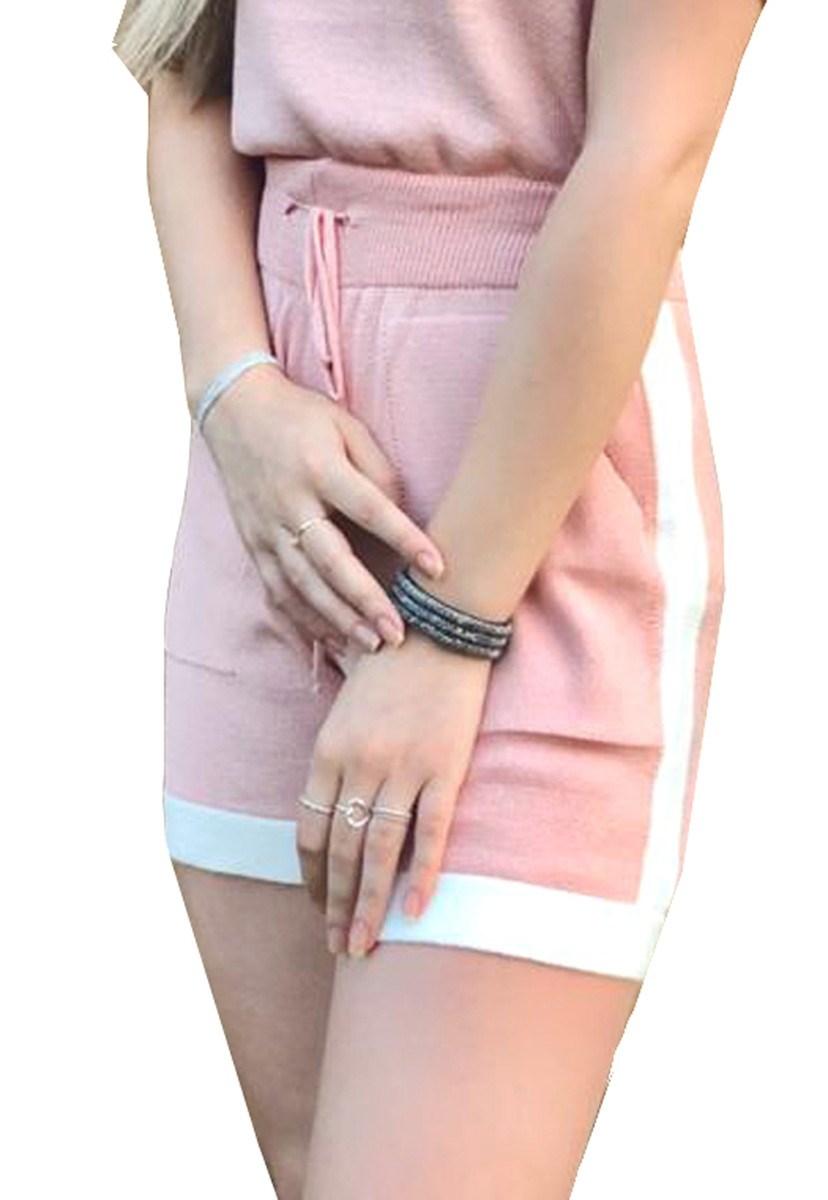 Short De Tricô Feminino Pink Tricot Modal Moletinho Listrado Com Bolso Rosa Claro
