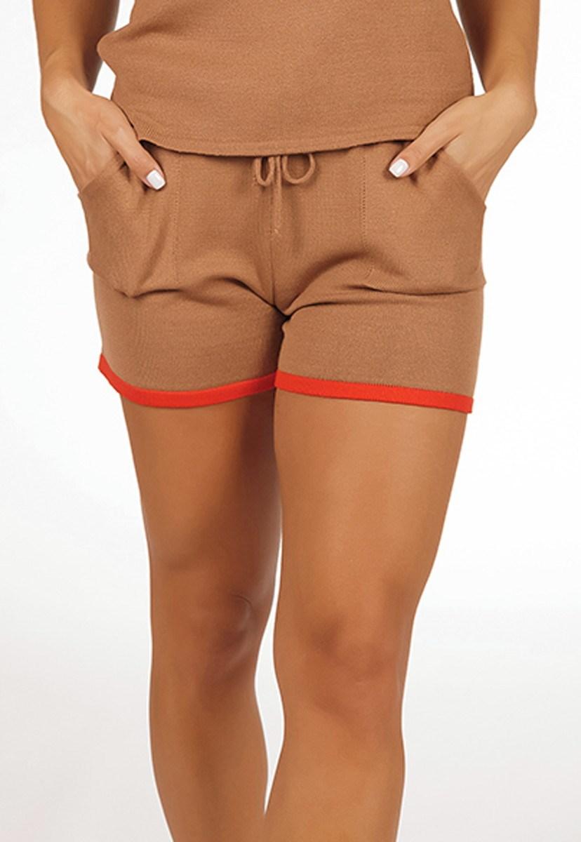 Short De Tricô Pink Tricot Modal Moletinho Comfy E Listras Na Barra Feminino Dourado
