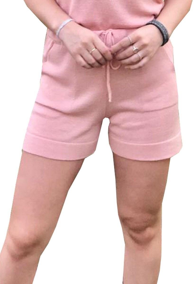 Short Feminino Pink Tricot Moletinho De Tricô Modal E Cordão Rosa Claro