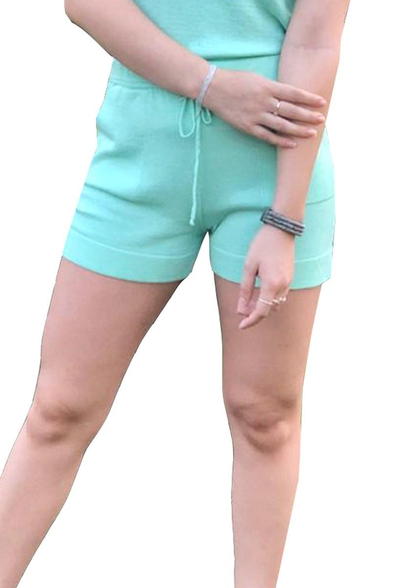 Short Moletinho Pink Tricot De Tricô Modal E Cordão Feminino Verde Claro