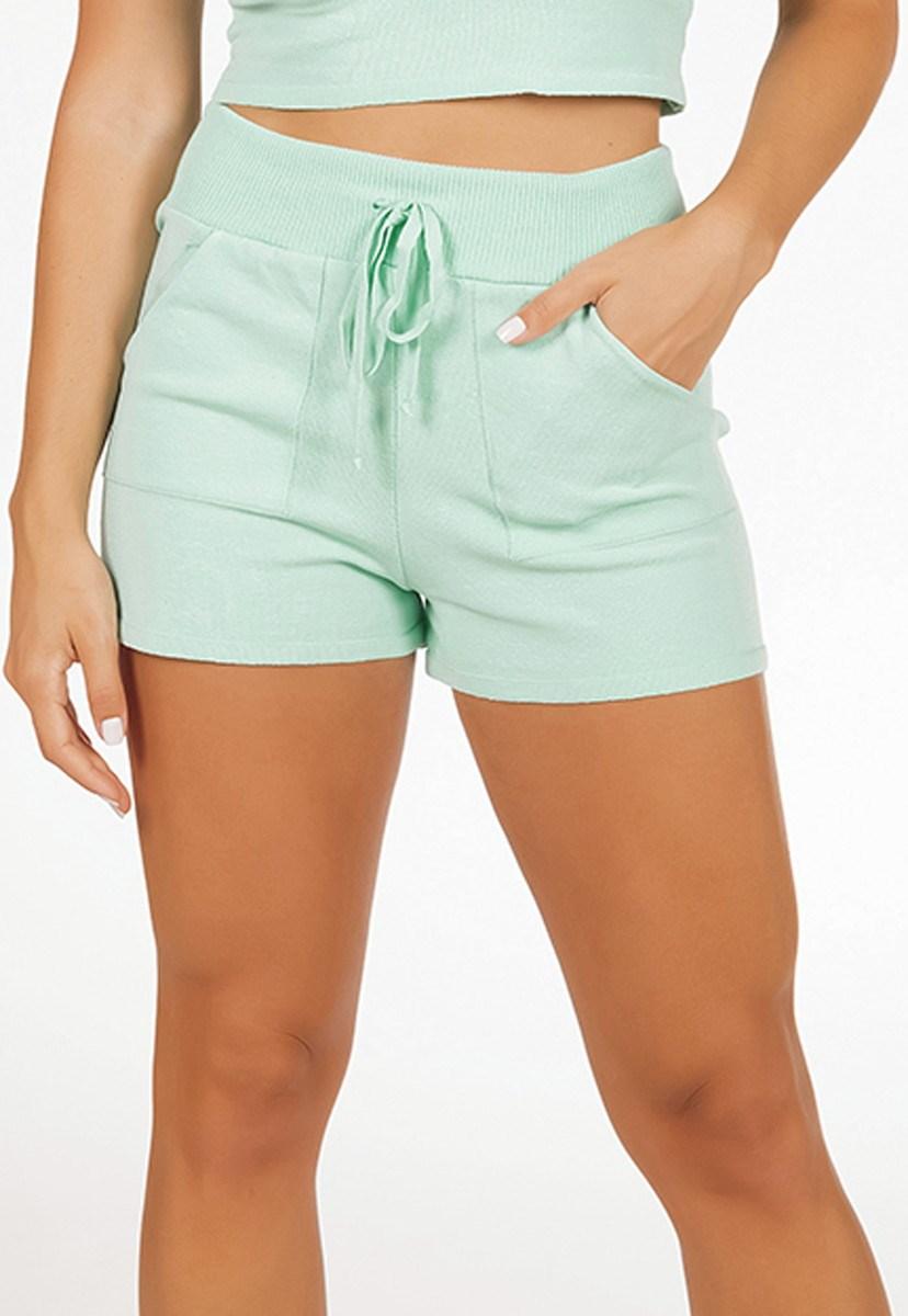 Short Pink Tricot Comfy De Tricô Modal Com Bolso Feminino Verde Claro