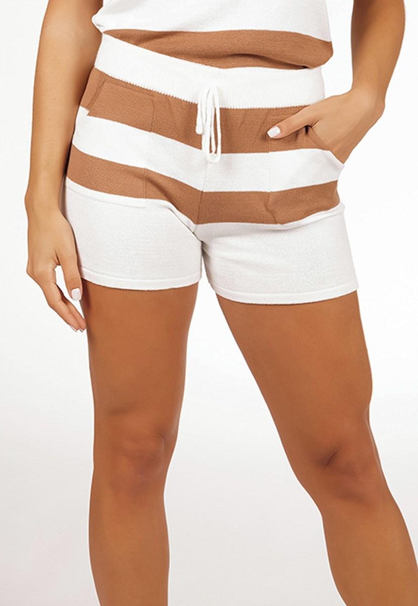 Short Pink Tricot Comfy De Tricô Modal Listrado E Cordão Feminino Dourado/ Branco