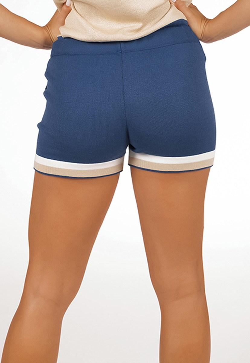Short Pink Tricot De Tricô Modal Listrado Comfy Moletinho Feminino Azul