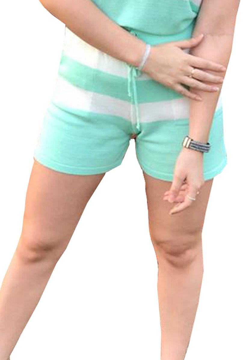 Short Pink Tricot Moletinho De Tricô Modal Listrado E Cordão Feminino Cor:Verde;Tamanho:Único