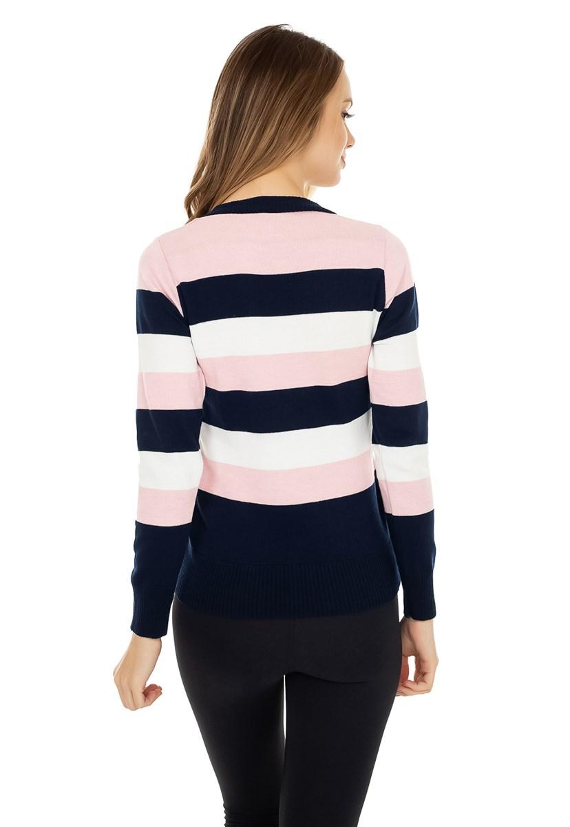 Tricô Blusa Pink Tricot Manga Longa Suéter Modal Estampa Listrada Feminino Azul Marinho com Rosa Claro