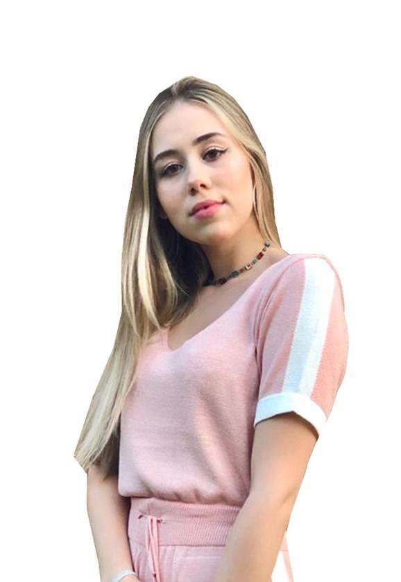Tricô Blusa Pink Tricot Modal Com Manga Curta E Listra Na Barra Feminina Rosa Claro
