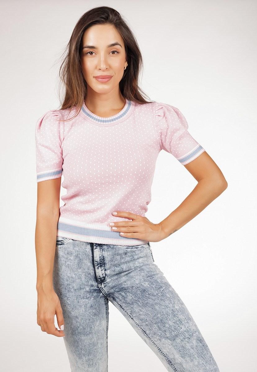 Tricô Blusa Pink Tricot Modal Feminina Com Manga Bufante E Estampa Poá Rosa Claro
