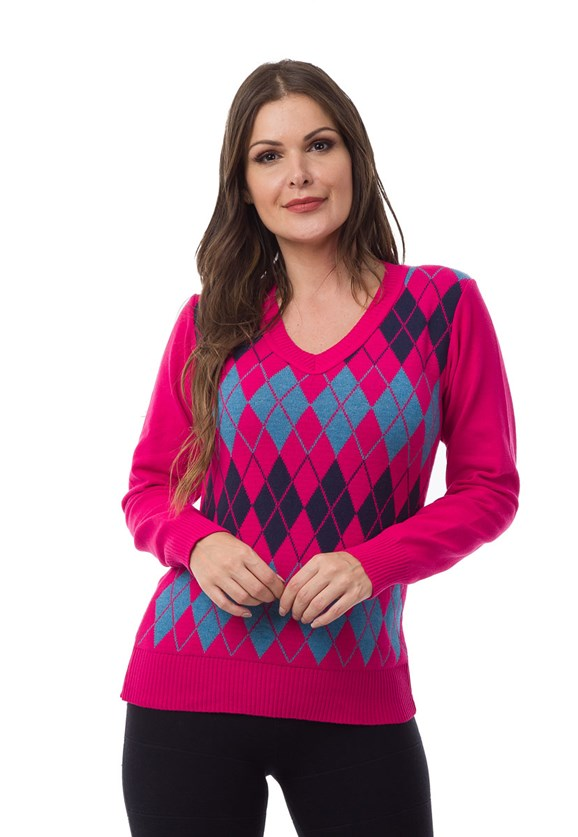 Tricô Blusa Sueter Pink Tricot Feminina Estampa Xadrez Escocesa Pink