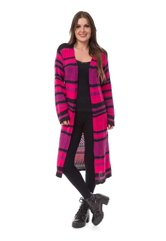 Tricô Casaco Pink Tricot Longo Listrado Feminino Roxo com Pink