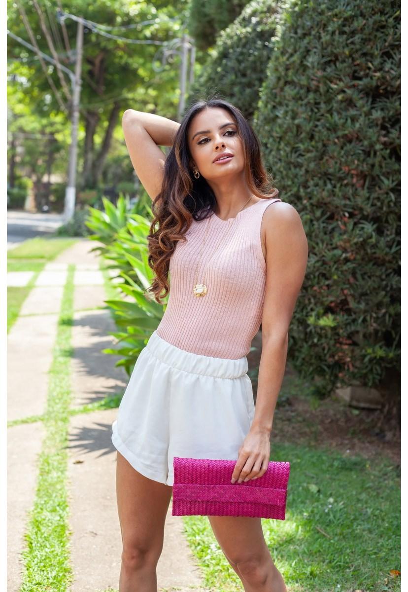 Tricô Regata Cropped Pink Tricot Gabriela Modal Canelado Decote Redondo Feminino Rosa Claro