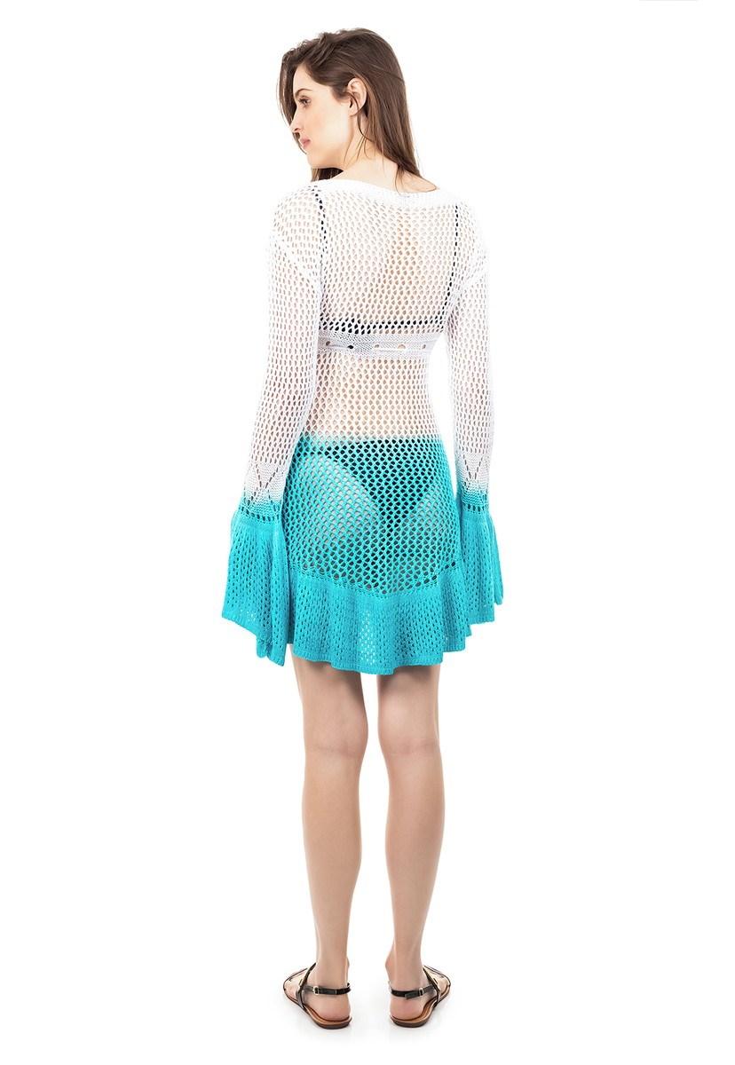 Tricô Saida de Praia Pink Tricot Flare Estampa Tie Dye Cor:Branco/Azul;Tamanho:Único;Gênero:Feminino
