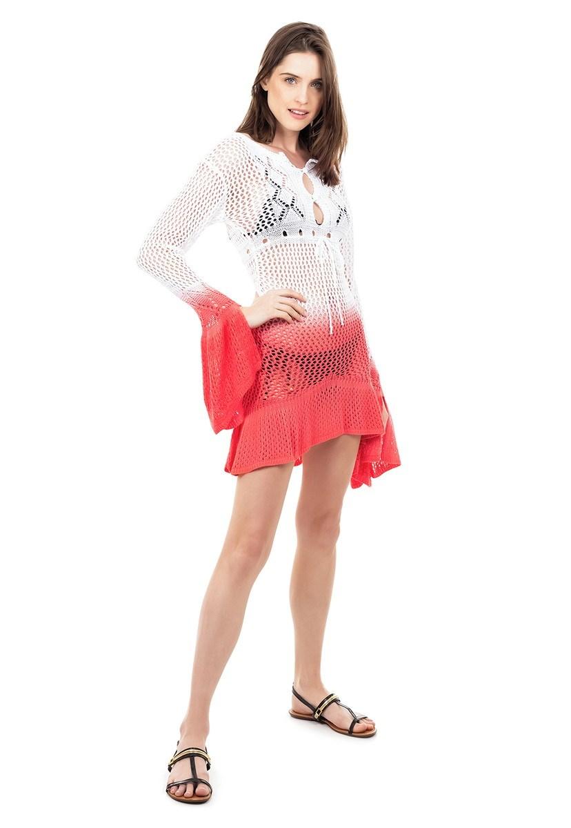 Tricô Saida de Praia Pink Tricot Flare Estampa Tie Dye Cor:Branco/Laranja;Tamanho:Único;Gênero:Feminino