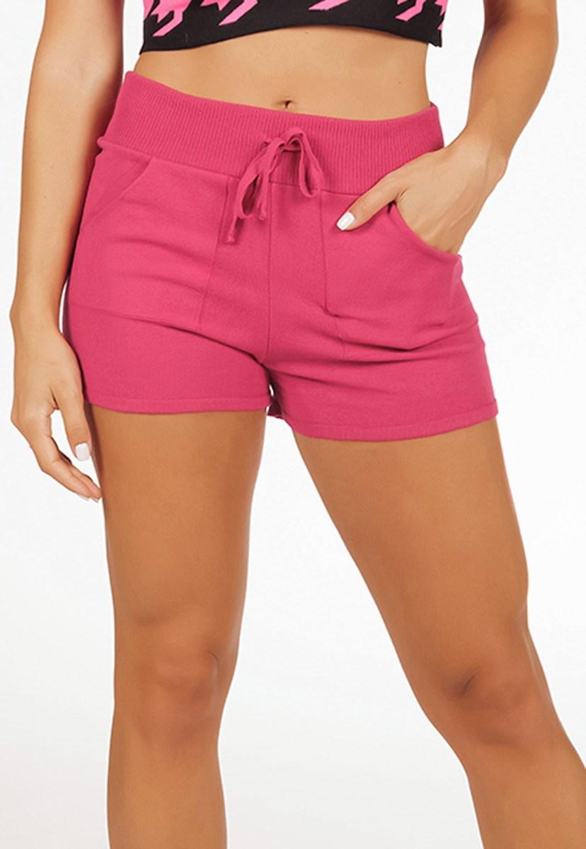 Tricô Short Pink Tricot Comfy Moletinho Modal Com Bolso Feminino Pink