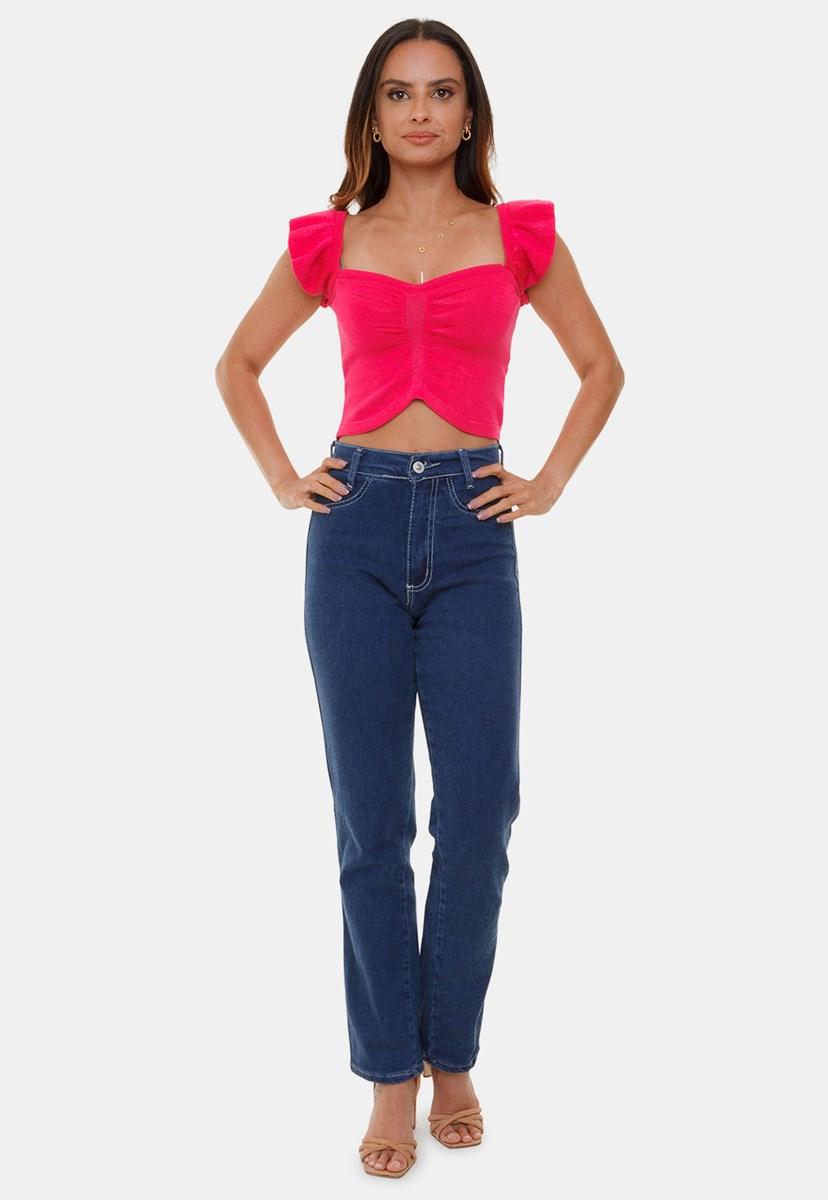 Tricô Top Cropped Pink Tricot Modal Virgínia Com Babado na Alça e Decote V Feminino Pink