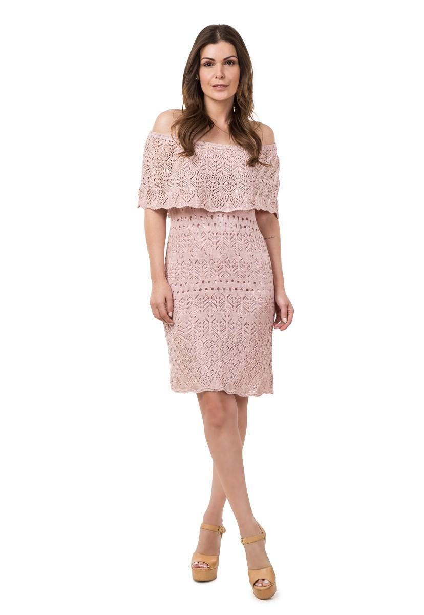 Tricô Vestido Curto Pink Tricot Para Ensaio Pré-Wedding Ombro a Ombro Feminino Rosa Claro