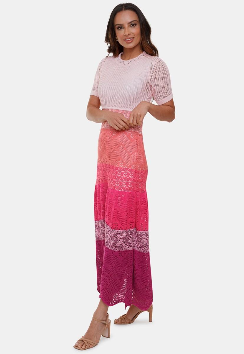 Tricô Vestido Longo Pink Tricot Renda Multicolorido Anne 4 Cores com Manga Curta Feminino Rosa Claro/Violeta