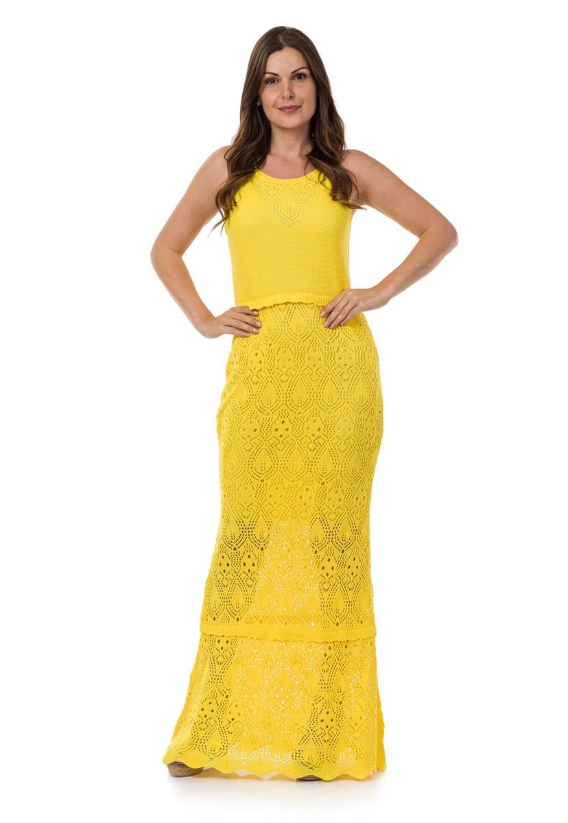 Tricô Vestido Longo Pink Tricot Sereia Feminino Amarelo