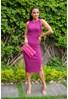 Tricô Vestido Midi Pink Tricot Modal Canelado Paola Com Decote Canoa e Fenda Lateral Feminino Violeta