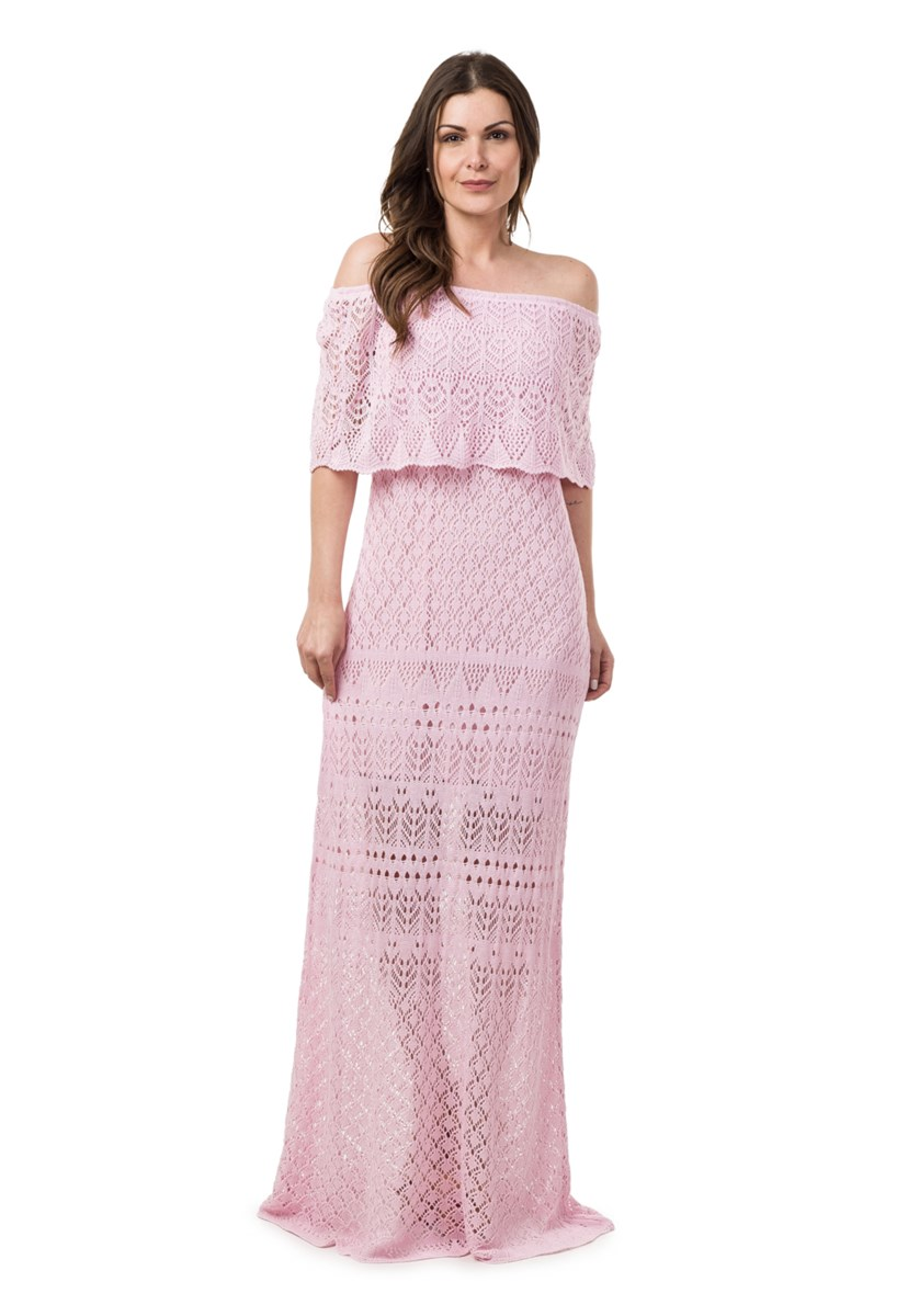Tricô Vestido Para Festa De Casamento Pink Tricot Feminino Ombro a Ombro Longo Rosa Claro