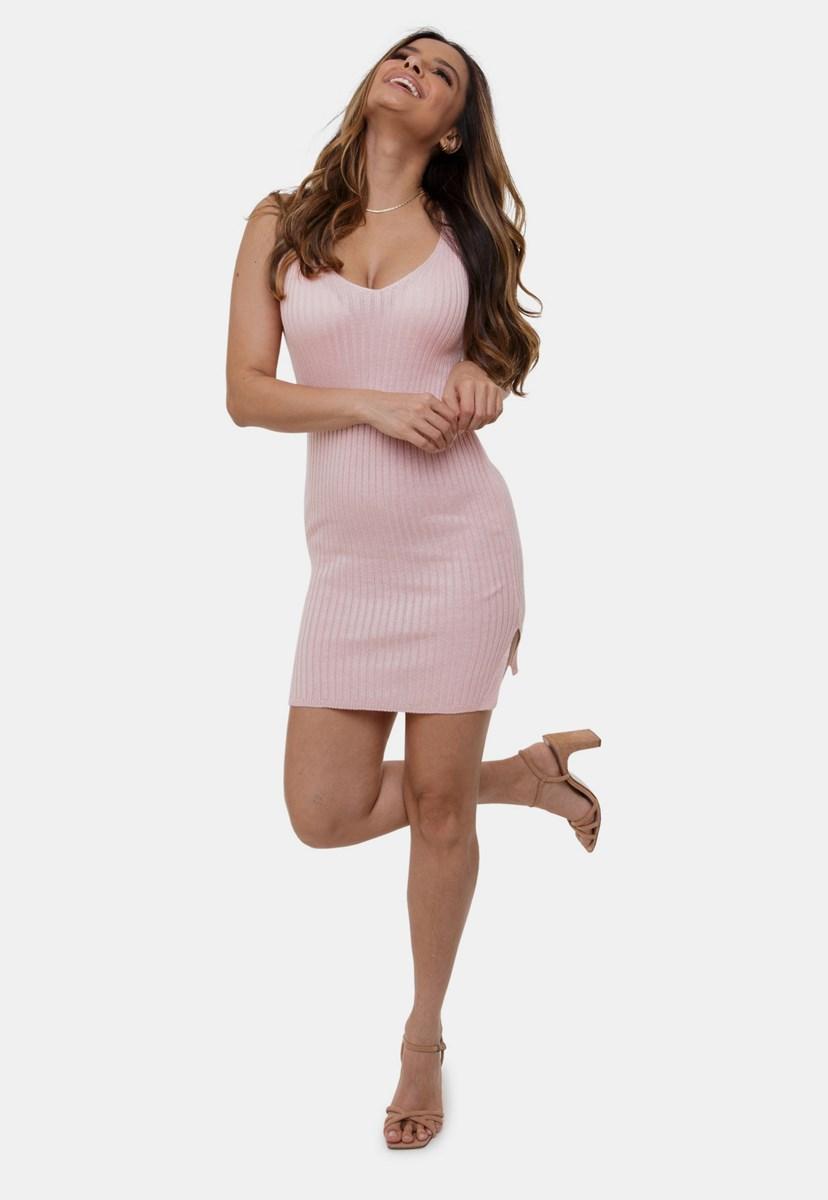 Tricô Vestido Pink Tricot Canelado Alças E Abertura Nas Laterais Feminino