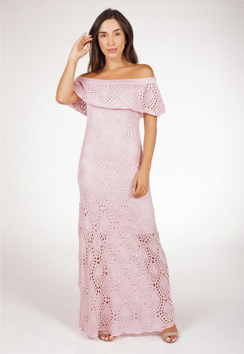 Tricô Vestido Pink Tricot Ciganinha Feminino Longo Pala Rosa Claro