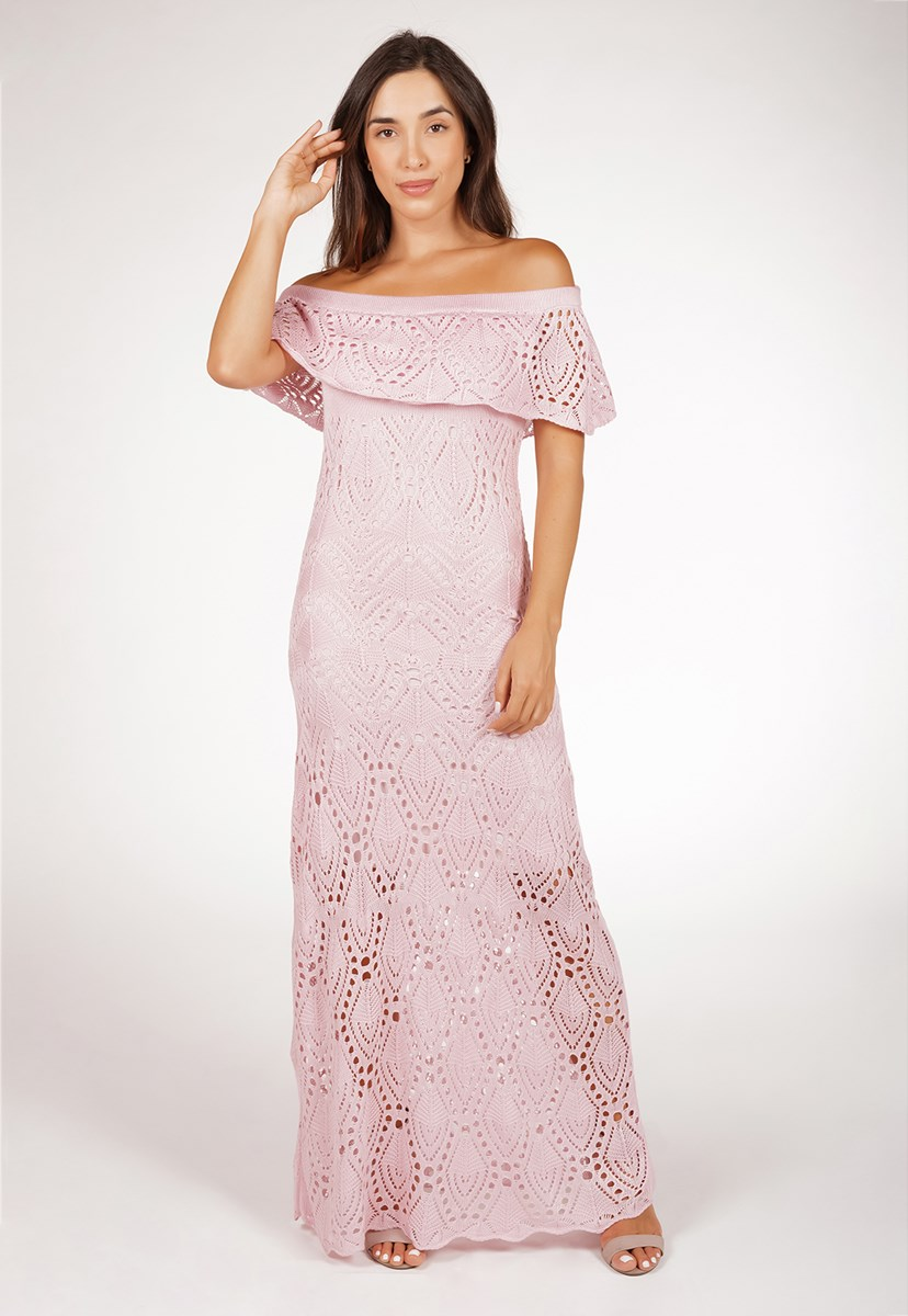 Tricô Vestido Pink Tricot Ciganinha Para Gestante Feminino Longo Pala Rosa Claro