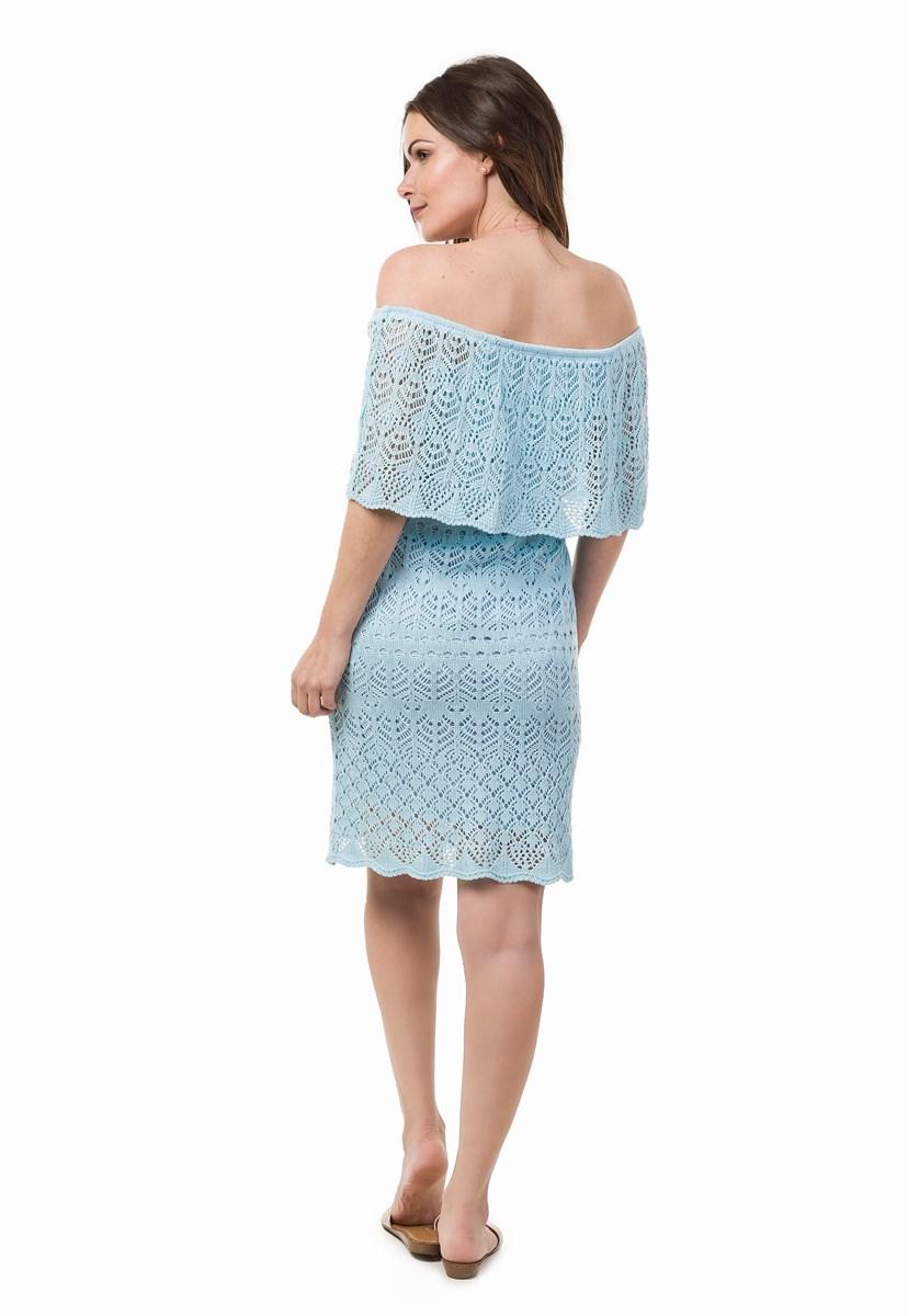 Tricô Vestido Pink Tricot Curto Para Ensaio Pré-Wedding Ombro a Ombro Feminino Azul Claro
