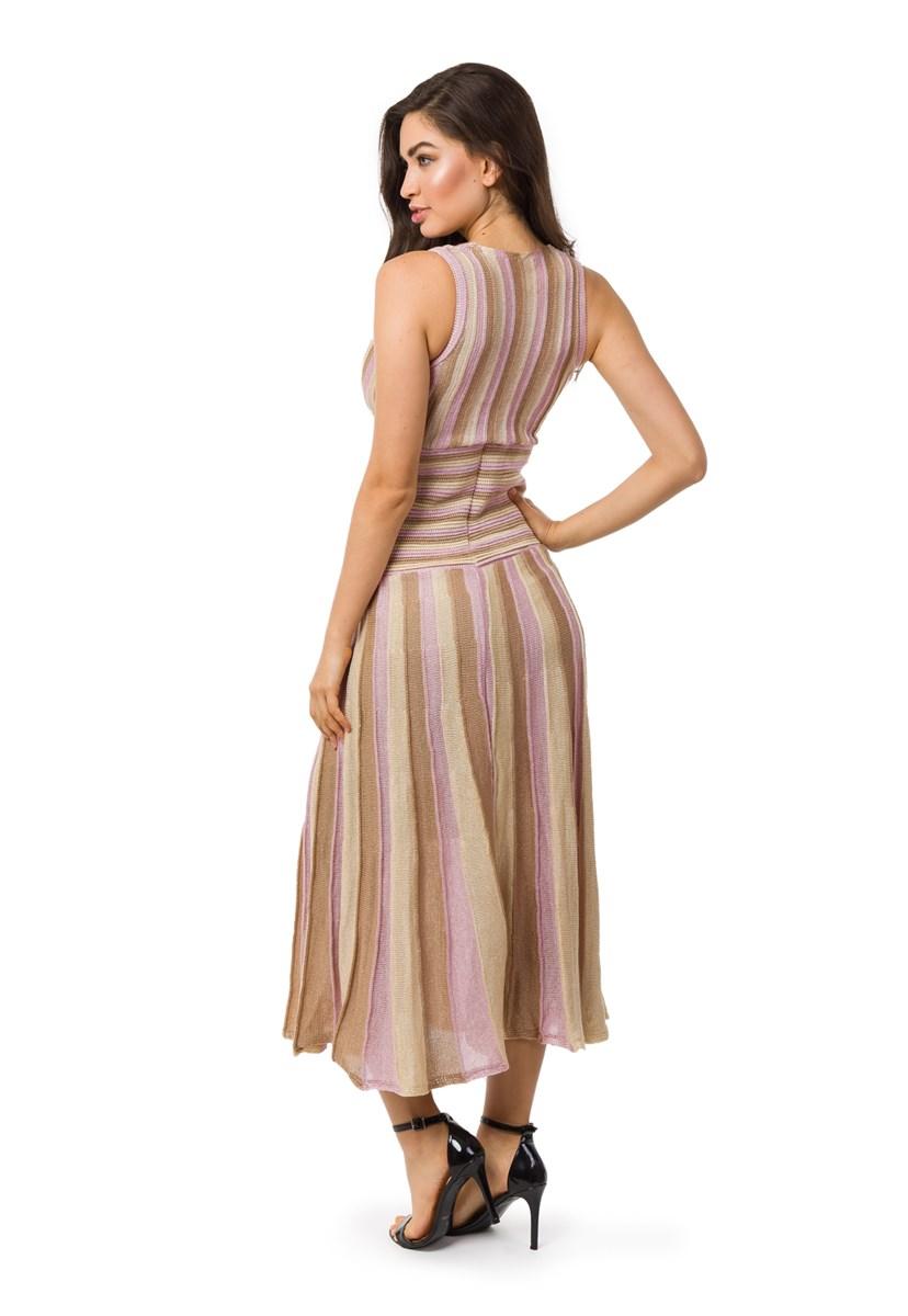 Tricô Vestido Pink Tricot Feminino Longo Plissado Listrado Lilás