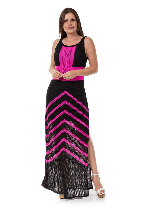 Tricô Vestido Pink Tricot Longo Estampa Listrado Feminino Preto com Pink