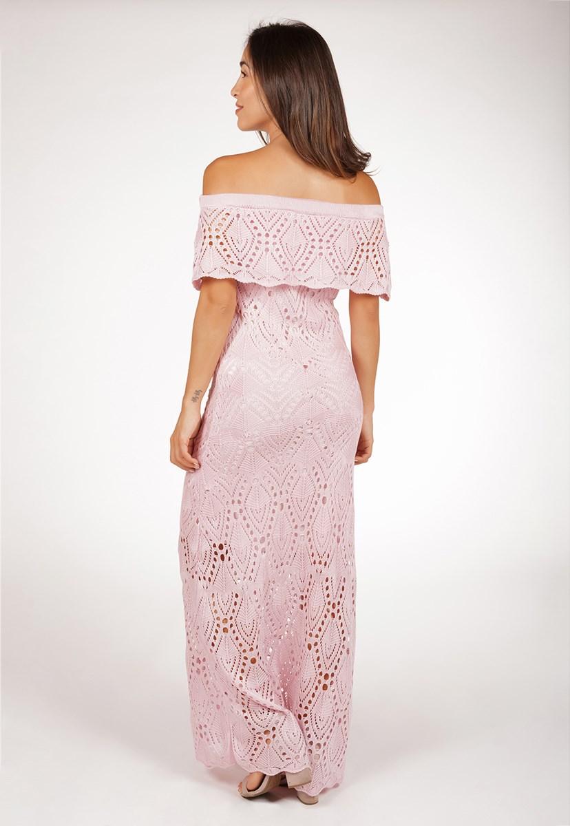 Tricô Vestido Pink Tricot Para Ensaio Pré-Wedding Ciganinha Feminino Longo Pala Rosa Claro
