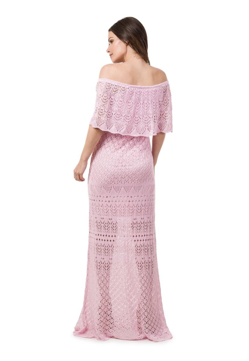 Tricô Vestido Pink Tricot Para Gestante Feminino Ombro a Ombro Longo Rosa Claro