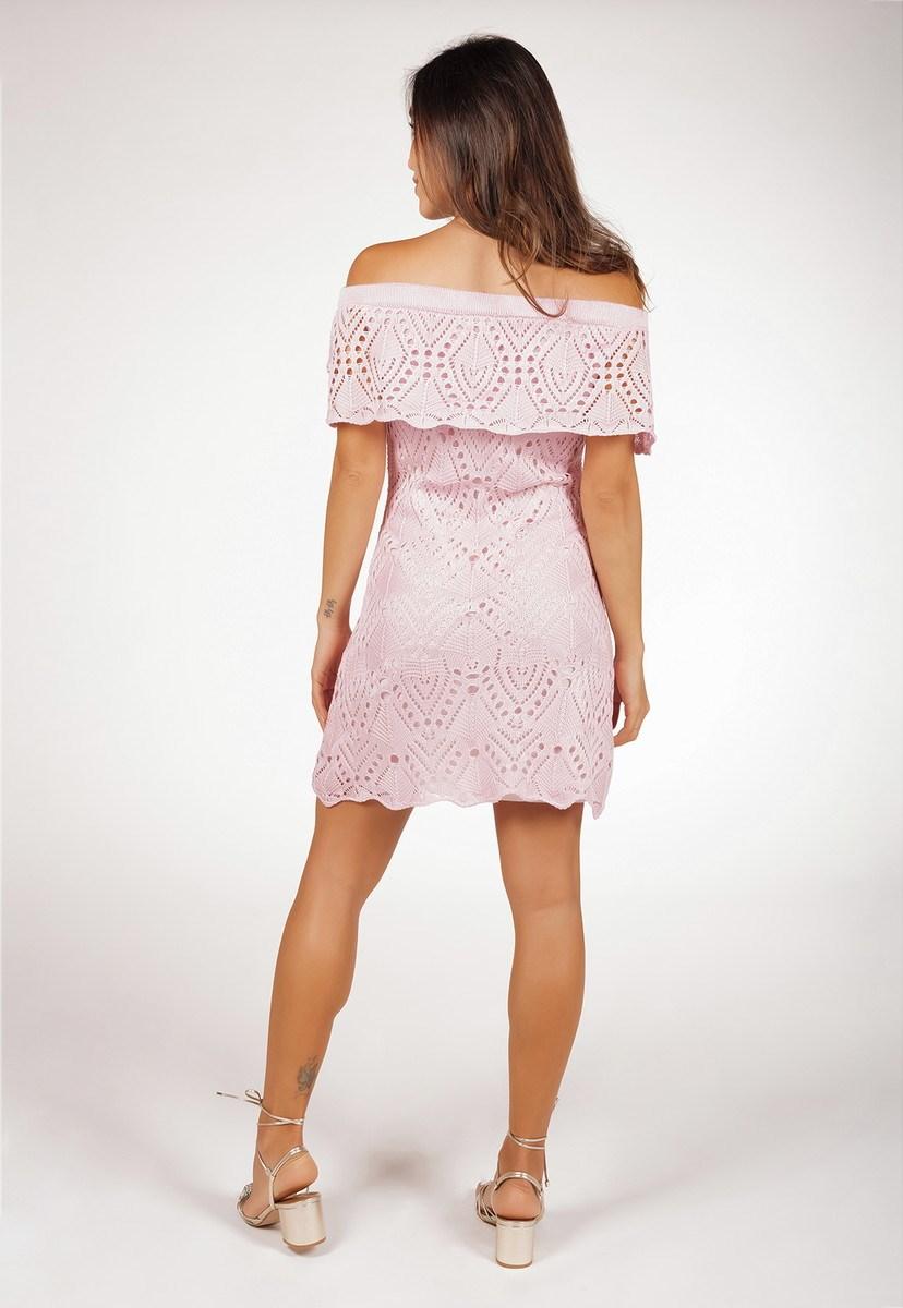 Vestido Curto de Tricô Ombro a Ombro Pink Tricot Rendado Feminino Rosa Claro