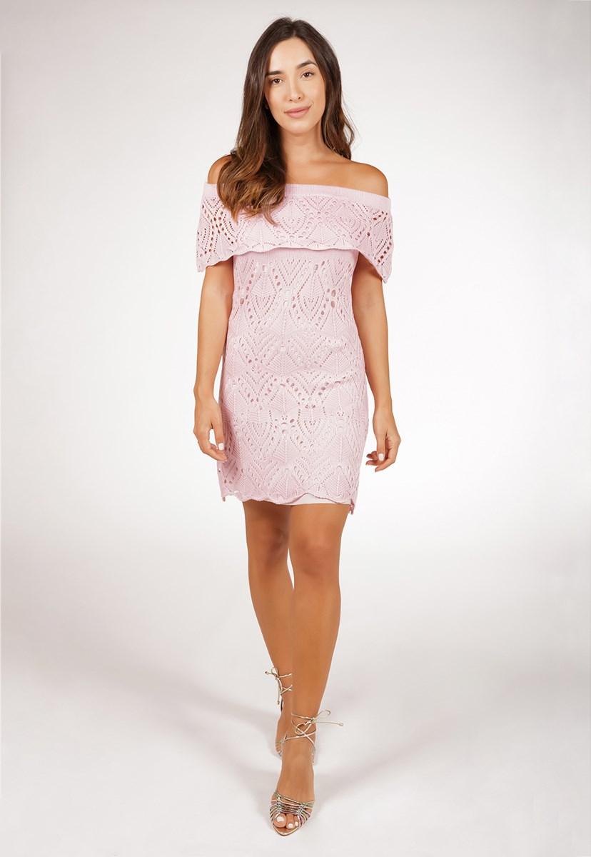 Vestido Curto de Tricô Para Ensaio Pré-Wedding Ombro a Ombro Pink Tricot Rendado Feminino Rosa Claro