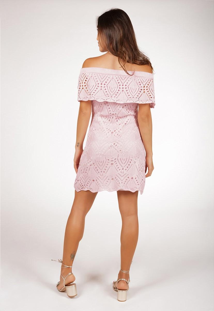 Vestido Curto de Tricô Para Festa De Casamento Ombro a Ombro Pink Tricot Rendado Feminino Rosa Claro